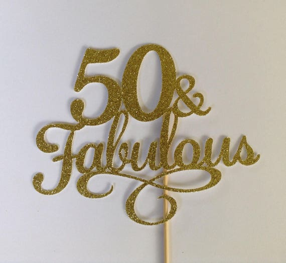 50 Fabulous Cake Topper Sparkly Black Cake Topper 50th