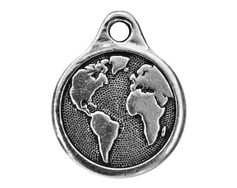 3 TierraCast Planet Earth 13/16 inch ( 21 mm ) Silver-Plated Pewter Drop Charm Pendant