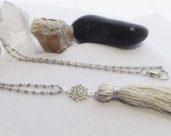 Silver Tassel Chain Necklace, Opera Length Chain Necklace, Handmade Fringe Tassel Necklace, Pendant Necklace, Boho Jewelry, Handmade Jewelry