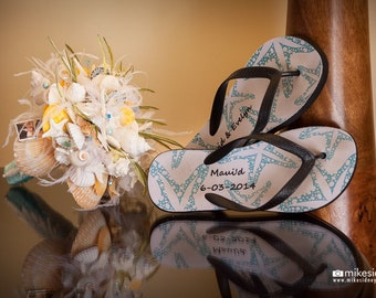 Beach Wedding Lace White and Pearl Seashell Bridal Bouquet with Aqua Teal Accents - Original one of a kind design