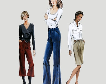 Western Pants and Skirt Pattern Vogue 7805 Flared legs Side Button Trim waist Size 12-16 Waist 26-30 inches UNCUT Factory Folded