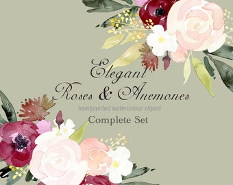 Hand Painted Floral Clipart - Elegant Roses & Anemone Elements, Floral Bouquets, flower border, floral wreath, wedding PNGs, Romantic Roses