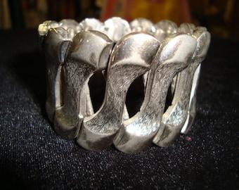 Huge 60's Bergere Japan Expansive Bracelet Silver