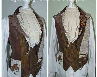 Steampunk mens waistcoat Victorian inspired made to order