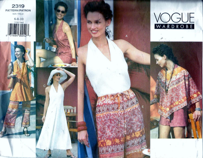Vogue 2319 Neckholder Top Kleid Strand Überwurf Poncho Shorts