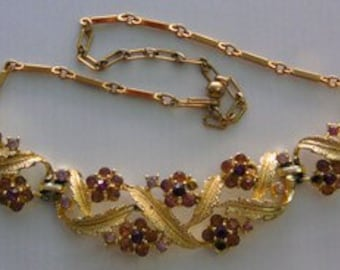 1960 Vintage Coro Gold Tone Choker with Garnet-colored Rhinestone