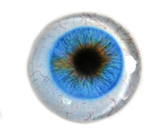 30mm Blue Glass Eye for Pendant Jewelry Making or Taxidermy Fantasy Human Doll Eyeball Flatback Circle with White Sclera