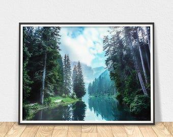 Fir Trees Art - Printable Wall Art, Forest Art Poster, Tree Art Print, Nature Wall Art, Forest River Print, Forest Decor, Digital Download
