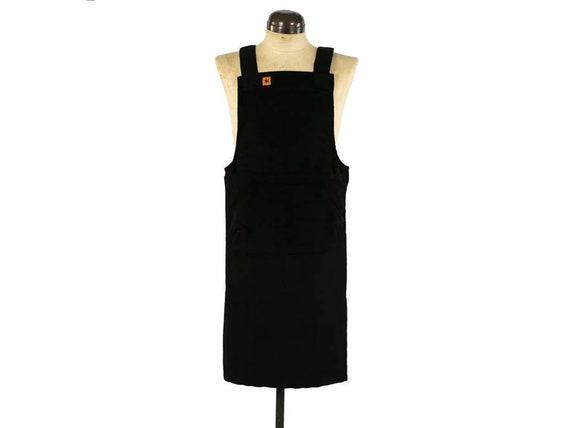 Susie Denim Pinafore Apron, Crossback Apron, Japanese Apron, Pinafore Dress, Long apron with deep pocket, Linen Apron, Garden Apron