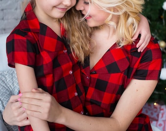 Red Plaid Baby Mommy Matching Pjs, Mom and Me Pajamas, Gingham pattern, Twinning, Mommy baby matching