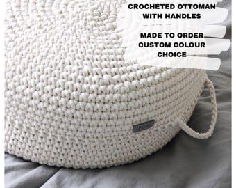 Floor pouf ottoman | crocheted pouf | crochet pouf | nursery decor | crocheted ottoman | nursery pouffe | kids sitting | baby pouffe