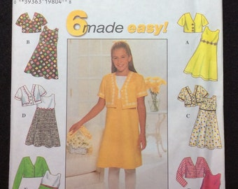 Simplicity 6 Made Easy Girls' Dress And Jacket Pattern 7463 Size 7, 8, 10