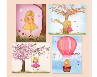 Girls bedroom wall art,kids room posters,personalized art for girl room,kids art decor,artwork for girls room,childrens room art,nursery art