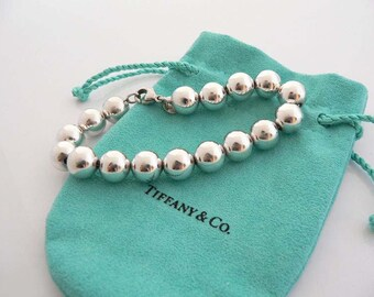 Vintage Tiffany & Co 10mm Sterling Silver Ball Bead Bracelet W Blue Pouch