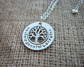 Family Tree Hand stamped personalised names necklace ~ 32mm
