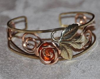 Vintage Gold Filled Rose Cuff Bracelet