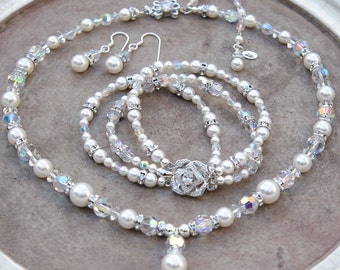 Bridal Jewelry Set of 3 with Swarovski® Pearls, Crystals, and Rhinestone Bracelet and Earrings 3 Piece Set Wedding Jewelry