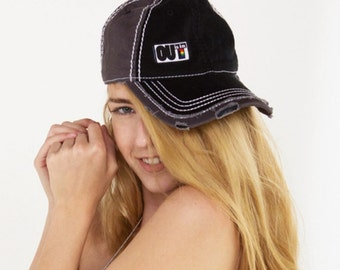 OUT is in USA Distressed Baseball Cap, Sporty