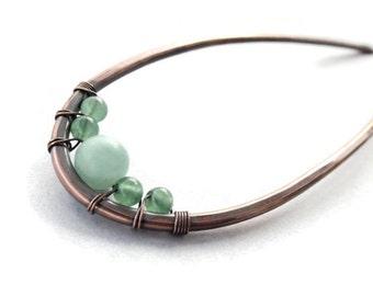Amazonite & Aventurine Hair Fork, Copper Hair Arch, Gemstone Hair Sticks, Hammered Hair Stick Pins, Hair Accessories, Antique Hair Jewelry