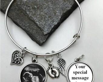 Two-Sided Sonogram Bracelet, Ultrasound Bracelet, Baby Bracelet, Baby Memorial  Bracelet, Memorial Charm Bracelet, Loss of Child