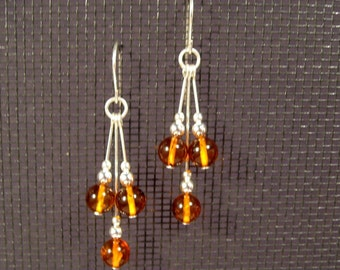 Sterling Silver Amber Multi-Dangle Earrings
