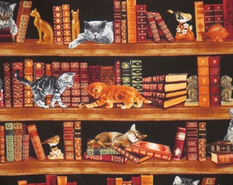 REMNANT--Clever Cats in the Library Print Pure Cotton Fabric--1&1/3 Yard
