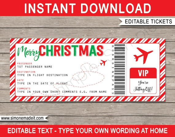flight ticket template gift - christmas gift plane ticket surprise trip getaway