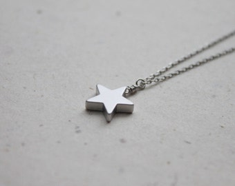 Simple Silver Star Necklace - S2155-1