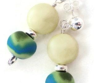 Tie Dye Sterling Post Earrings with Pale Yellow Lemon Swarovski Pearls and Handmade Polymer Tie Sye Beads