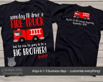 big brother shirt firetruck Front/Back DARK t shirt perfect pregnancy announcement for the fireman big brother MTRAN-010-d