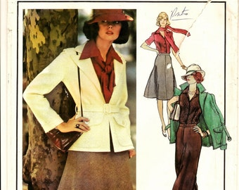 """A Jean Patou Open Front Jacket, Fit 'n Flare Skirt, Blouse, Straight Leg Pants, & Scarf Pattern for Women: Size 12, Bust 34"""" • Vogue 1154"""