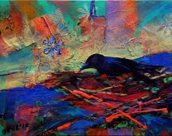 Crow Nesting 1.3 original wildlife acrylic painting