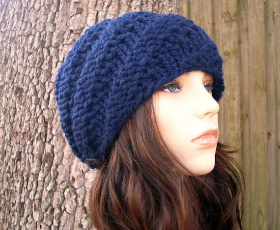Knit Hat Womens Hat - Swirl Beanie in Navy Blue Knit Hat - Blue Hat Blue Beanie Navy Hat Navy Beanie Womens Accessories Winter Hat