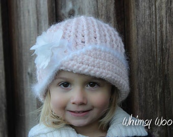 "CROCHET HaT PATTERN: ""Vintage Twist"", Crochet Cloche, Fabric Flower"