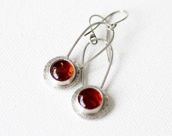 Amber sterling silver dangle earrings, OOAK, Amber earrings, Golden dangle earrings, Sun earrings