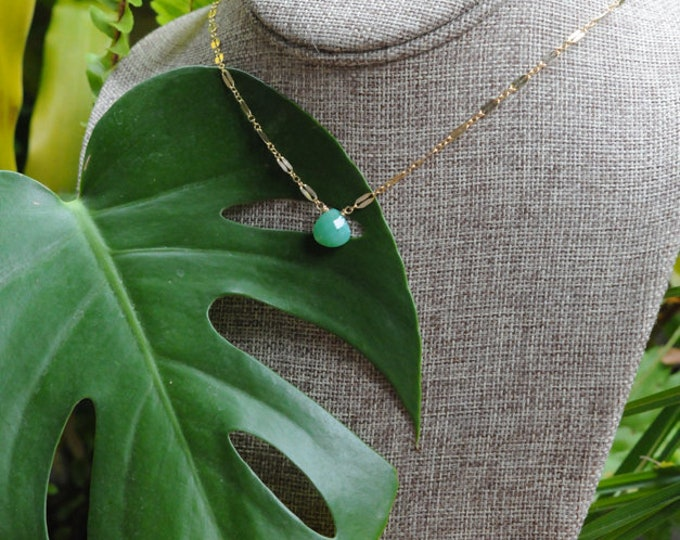 Chrysoprase Collection/ Simple Stone Necklace/ Sparkle Chain/14K Gold Filled