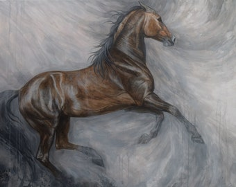 Original Painting Horse Bay brown horse Signed Acrylic on canvas 48 inch Fine Art Equestrian Equine Gallop running horse
