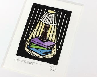SALE - Lamp with Books - Library - Reading - Interior - Light - Night - Linocut Printmaking - Block Print - Wall Art - Black and White - 5x7
