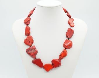 ethnic necklace, gemstone necklace, boho short necklace, boho necklace, handcrafted, handmade, red necklace, howlite, nugget necklace,