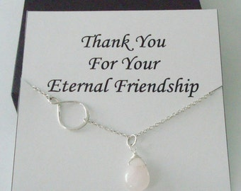 Eternity Infinity Charm with Rose Quartz Silver Necklace ~~Personalized Jewelry Gift Card for Best Friend, Sister, Bridal Party, Graduation