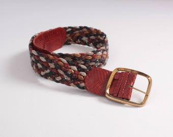 Vintage 80s BELT / 1980s Wide Woven Braided Snake Skin Leather Boho Belt