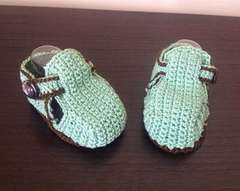 Baby boy shoe green/brown