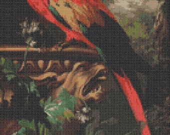 Bird Cross Stitch Kit, A Scarlet Macaw in a Landscape Cross Stitch, Embroidery Kit, Art Cross Stitch, Counted Cross Stitch, Jakob Bogdany