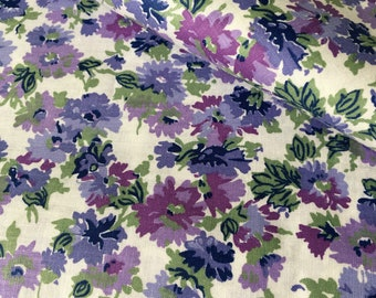 Peter Pan Fabrics, Violet Floral Cotton, Lavender Cotton Fabric - Cotton Fabric By The Yard - Quilt Cotton Fabric - Sewing Fabric