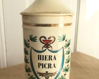 Vintage Apothecary Drugstore Jar Hiera Picra