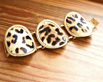 Vintage Cuff Bracelet Horsehair Fur Faux Leopard for Small Wrist