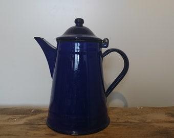 Vintage blue Enamel Tea Kettle, Enamel teapot, Coffee pot