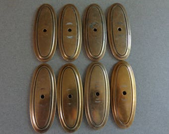 Oval Cabinet Pull Back Plates Antique Brass P277 set of 8 backplates