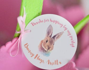 """Bunny Party It's Some Bunny's Birthday 2 1/2"""" Round Thank You Tags, Printable Digital Download PDF, Goody Bag Goodie Party Favor Tags Rabbit"""