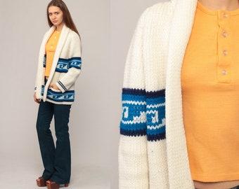 Wrap Sweater Ethnic Cardigan Bohemian Aztec Sweater 70s Boho Tribal Southwest Off-White 80s Vintage Oversized 1970s Blue Medium